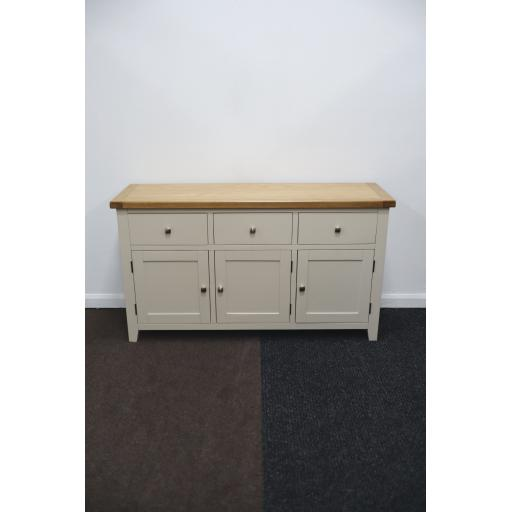 LIGHT GREY SIDEBOARD WITH OAK TOP!