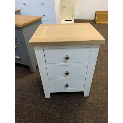 Pair of Pure White 3 Drawer Bedsides with Oak Top