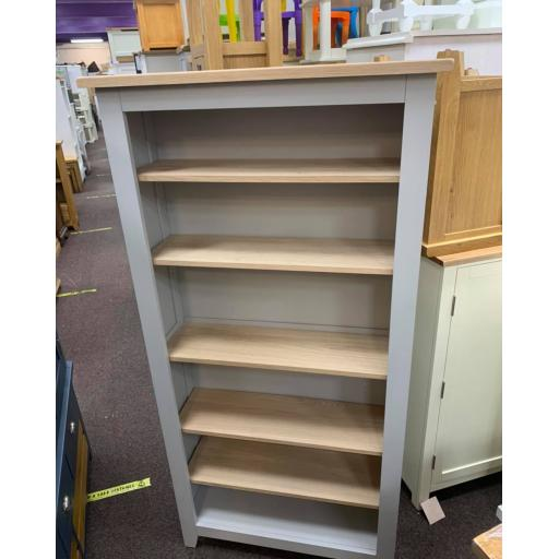 GreyTall large bookcase with oak veneer tops with panels painted in Grey