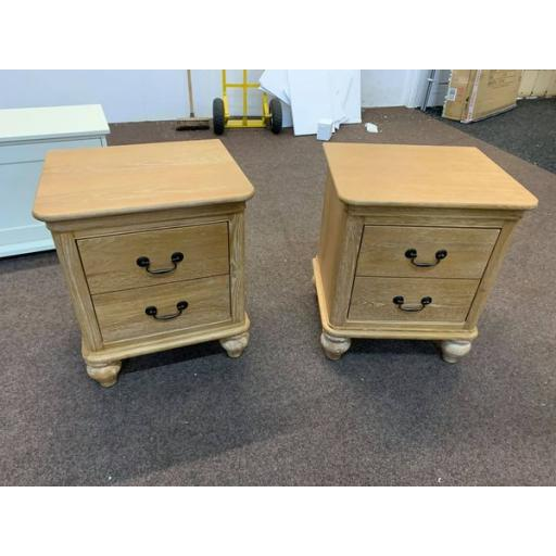 Pair of Washed Oak 2 drawer Bedside Table