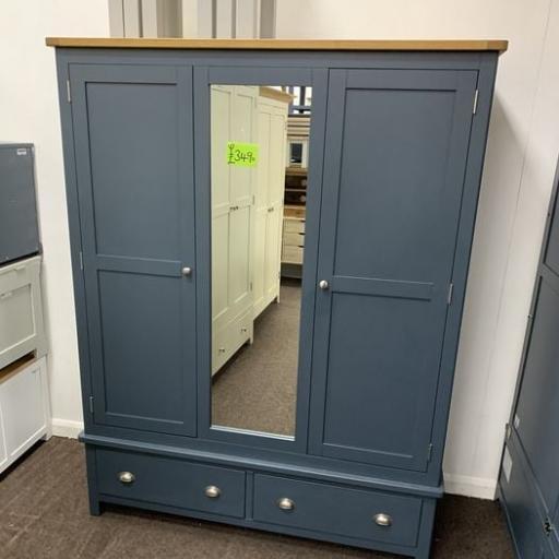 Blue Triple Wardrobe with Mirror