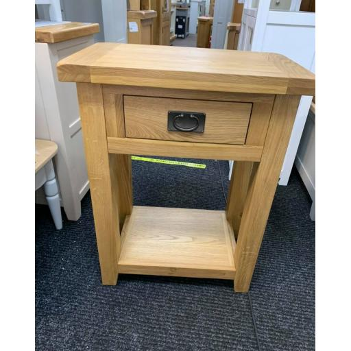 Oak 1 Drawer Console Table with dovetail joints