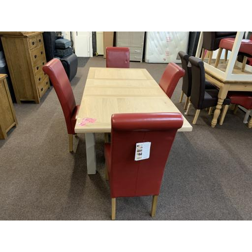 Grey and light Oak Table and 4 Red chairs