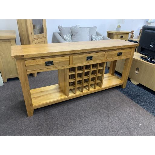Large Rustic Oak 3 Drawer Console Table With Wine Rack