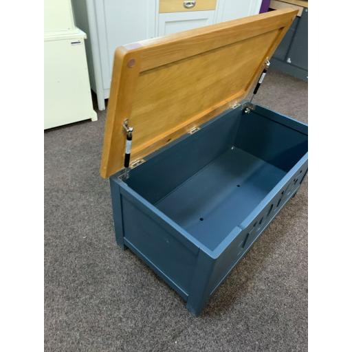 Blue Toy Box with Oak Top