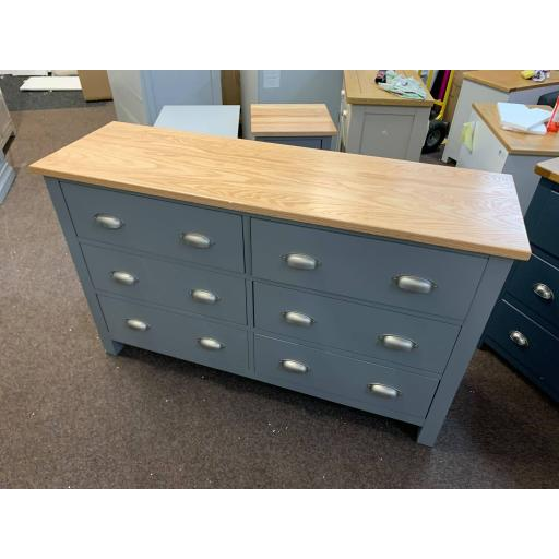 Grey 6 Drawer Low and Wide Chest