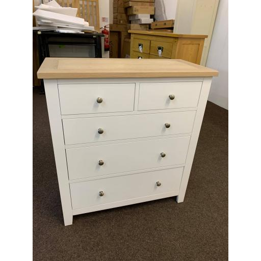 Pure White 2+3 Chest of Drawers with Oak Top