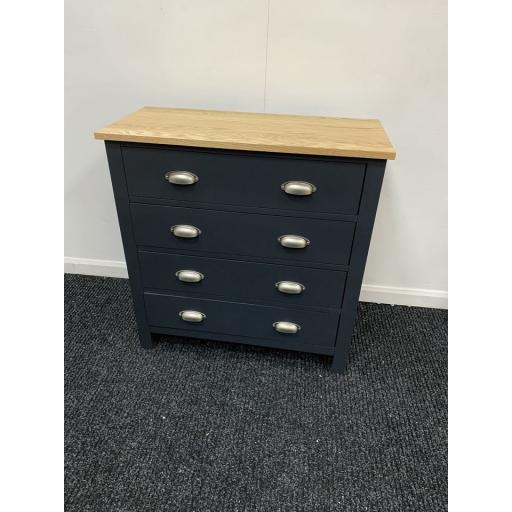 Charcoal 4 Drawer Chest with Oak