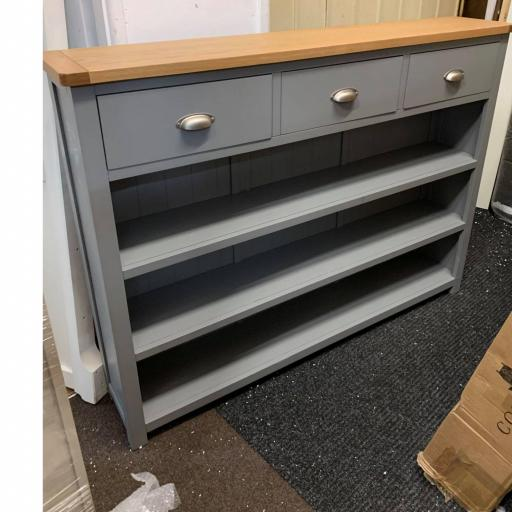 Grey Low and Wide Bookcase