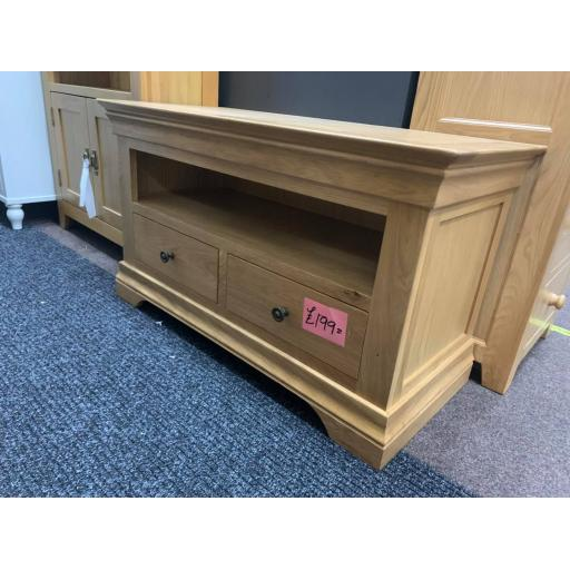 Oak TV Unit with Drawers
