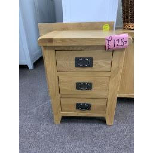 Oak 3 Drawer Bedside table