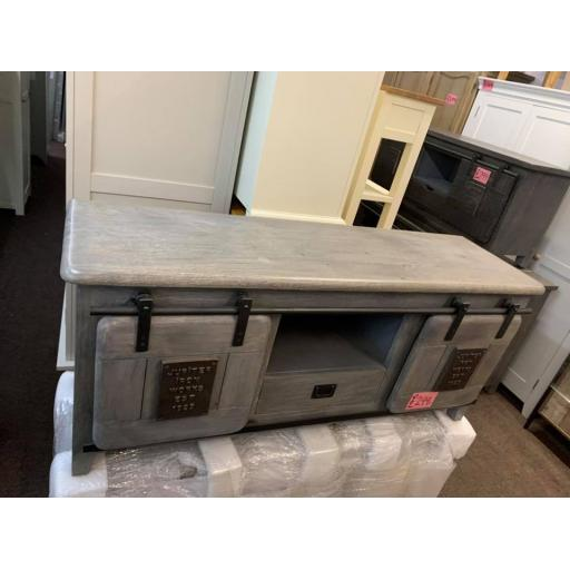 Grey wood Tv Unit
