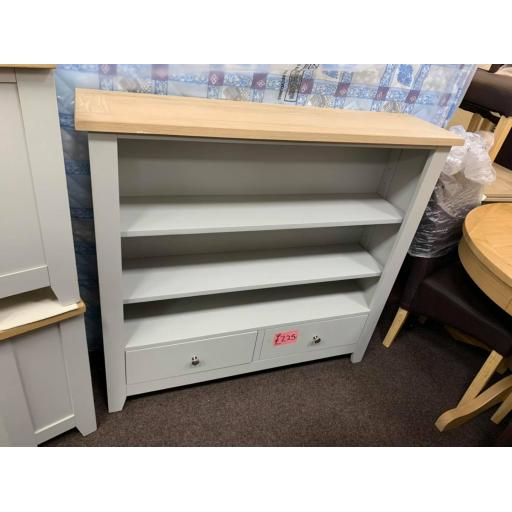 Dove Grey low wide Bookcase with Drawers