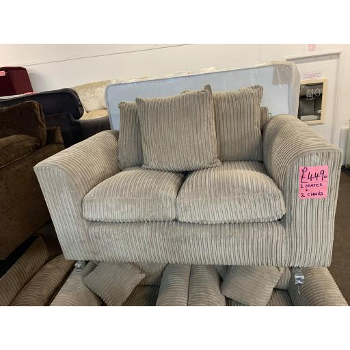 Mink Fabric cord 2 seater sfa + 2 chairs