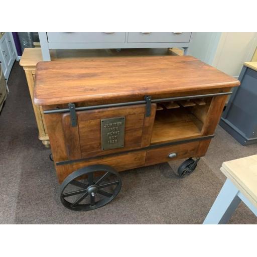 Mango wood fusion wine cart