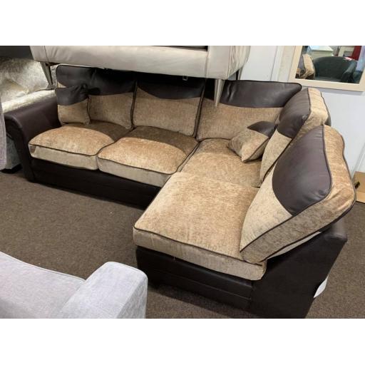 chocolate and mink corner righ hand sofa