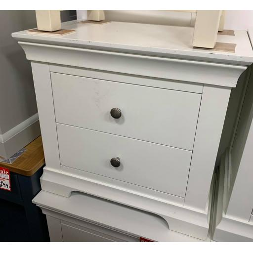 White Wide 2 Drawer Bedside Table with Metal handles
