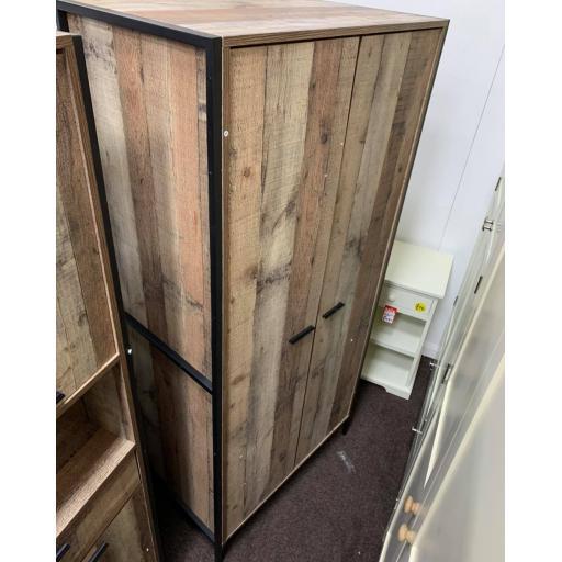 Oak effect Double Wardrobe in metal frame