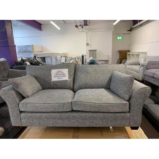 Grey flex fabric 3 seater sofa