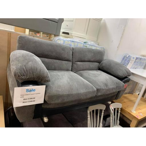 Grey And Black Cord 3 seater Sofa