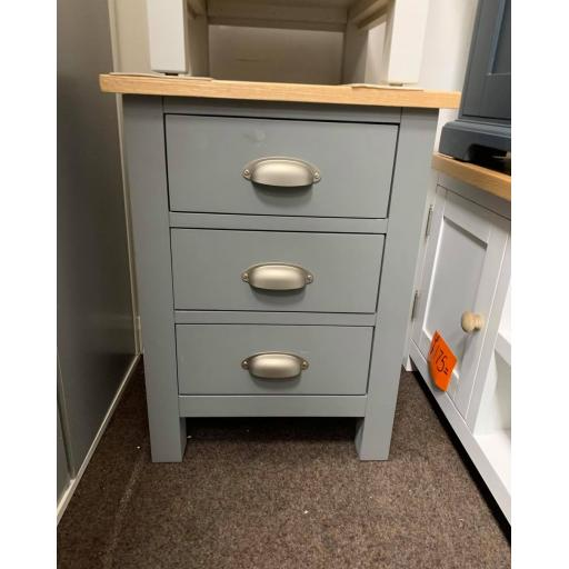 Dark Grey 3 drawer Bedside Table with Oak Top