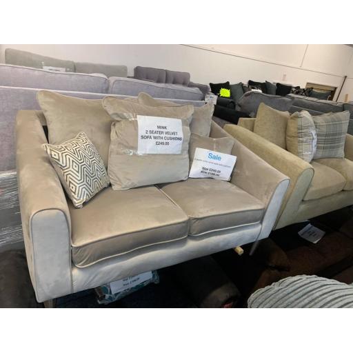 Mink Velvet 2 Seater scatter back sofa