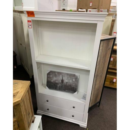 white tall bookcase with Drawers