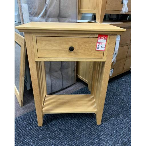 Oak 1 Drawer tall Console /lamp Table