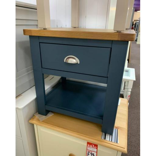 Dark Blue 1 Drawer Lamp Table
