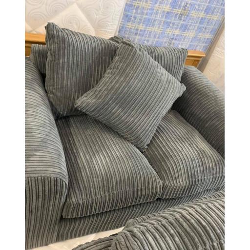 Grey Jumbo Cord 2 seater + 1 chair